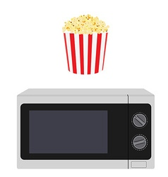 Microwave and popcorn vector image vector image