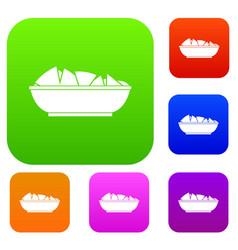 Nachos in bowl set color collection vector