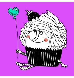 Nice comic cartoon character of cupcake vector image