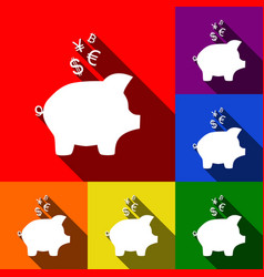 piggy bank sign with the currencies set vector image vector image