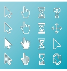 Pixel cursors and outline icons vector image vector image