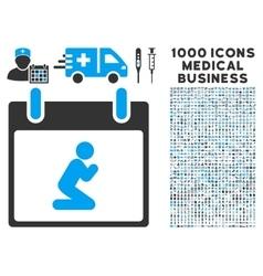 Pray person calendar day icon with 1000 medical vector