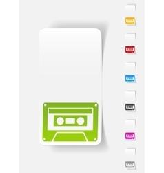 Realistic design element audiocassette vector