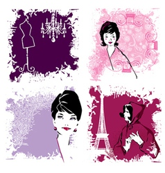 retro fashion woman vector image vector image