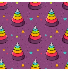 seamless pattern with colorful toy pyramid for vector image vector image
