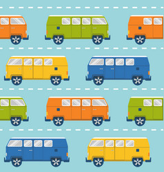 seamless pattern with retro minivans vector image vector image
