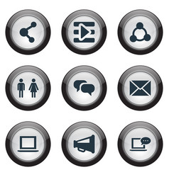 set of simple media icons elements web megaphone vector image vector image
