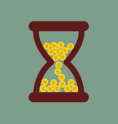 Time is money hourglass with gold coins vector