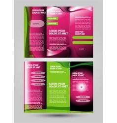 Tri-fold pink leaflet brochure template design vector