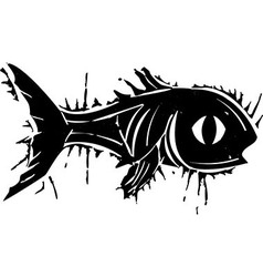 Woodblock Fish vector image