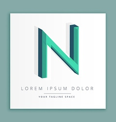 3d abstract style logo with letter n vector