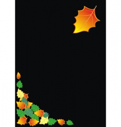 black background with autumn leaves vector image