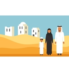 Arabic family in traditional clothes in desert vector