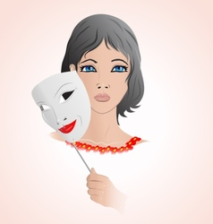 Girl holding a mask vector