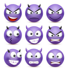 Smileyemoticon set blue face with emotions vector