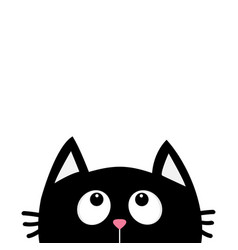 Black cat face head silhouette looking up cute vector