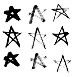 Stars hand drawn set isolated on white background vector