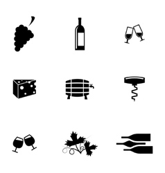 Black wine icons set vector