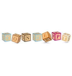 Word concept written with alphabet blocks vector