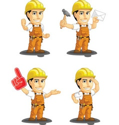 Industrial construction worker mascot 9 vector