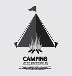 Tent and campfire for camping vector