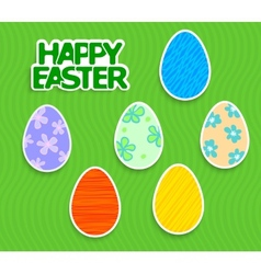 Easter background with eggs sticker vector