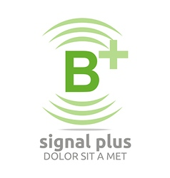 Logo signal letter b plus green alphabet wireless vector