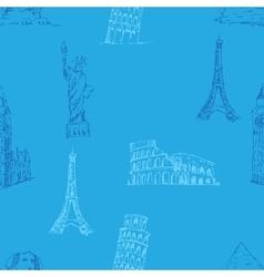 Doodle Travel pattern World famous landmarks vector image