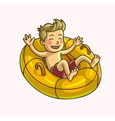 Little happy cheerful boy on swim ring vector