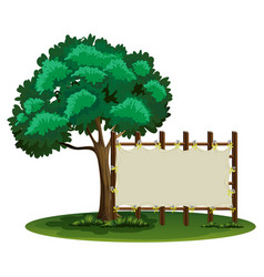 Blank sign beside the tree vector