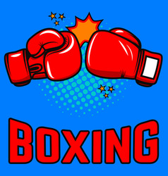 boxing boxing gloves on pop art style background vector image vector image