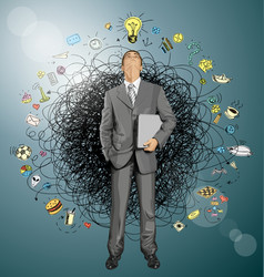 Businessman looking upwards vector