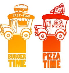 Cartoon fast-food car with a big hamburger and vector
