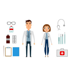 Character of medicine person man and woman flat vector