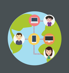 Concept of connecting people with technology vector