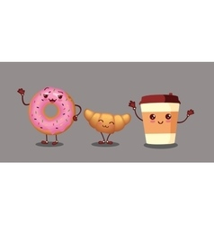 Donut croissant and coffee characters icon vector