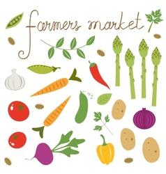 Farmers market set vector