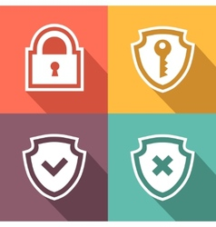 Flat security icons vector image vector image