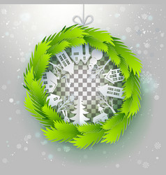 green paper wreath with outdoors vector image vector image