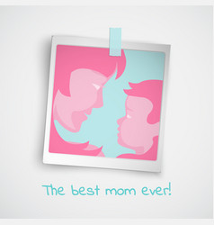 Greeting card with women and baby photo vector