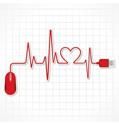 Heartbeat with mouse and laptop vector