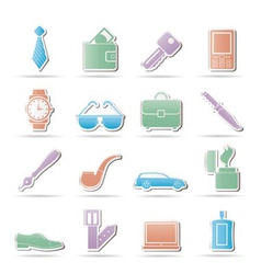 man accessories icons and object vector image vector image