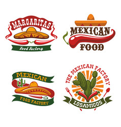 mexican fast food cuisine icons set vector image