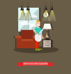 Mini vacuum cleaner flat vector