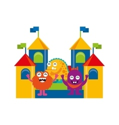 monster playing in playground vector image