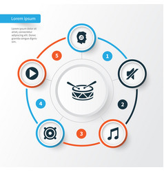 Multimedia icons set collection of barrel music vector