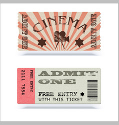 Retro cinema tickets or event shape with texture vector