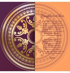Round golden ornament card in vintage style vector