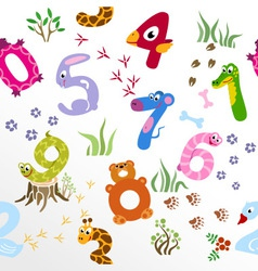 Seamless pattern of cartoon numbers like animals vector image vector image