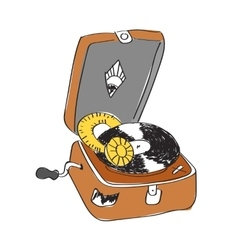 Sketch of record player with vinyl record vector
